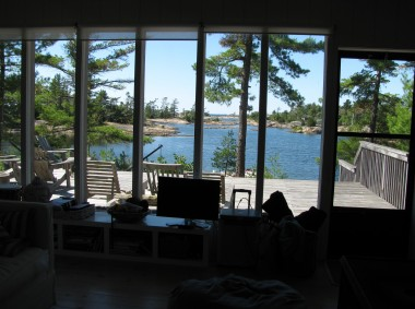 The view from the living room the inland waterway channel of the beautiful Georgian Bay.